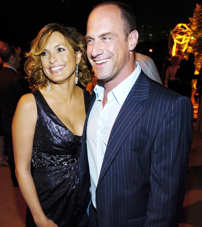 In this Friday, Aug. 25, 2006 file photo, 'Law and Order: Special Victims Unit' cast members Mariska Hargitay, left, and Christopher Meloni pose in West Hollywood, Calif. (AP / Chris Pizzello, file)