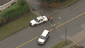 Police tape blocks the scene of an incident in Burnaby's Cascade Heights neighbourhood on Friday, Sept. 21, 2018.