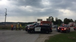 A man was airlifted to hospital with life-threatening injuries after a crash on 8th Line near Beeton. (CTV Barrie/Dave Sullivan)