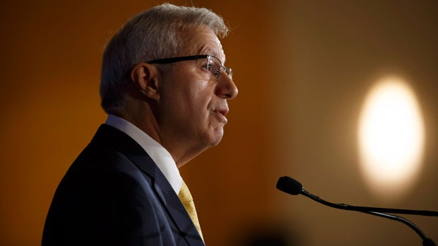 Ontario finance minister Vic Fedeli speaks during an Economic Club of Canada event in Toronto on Friday, Sept. 21, 2018. (THE CANADIAN PRESS/Cole Burston)