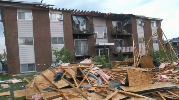 A view of damage caused to a property in the Ottawa area after a tornado hit, Friday, Sept. 21, 2018./