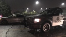 A CPS unit parked next to the recovered Toyota Camry in the parking lot of Village Square Leisure Centre on Friday night