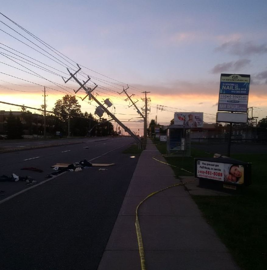 Hydro poles damaged by storm