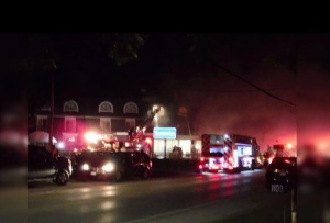 Firefighters battle at blaze at the Travelodge in Wasaga Beach on Friday, Sept. 21, 2018.