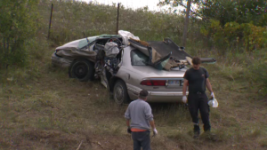 One of the vehicles involved in a fatal crash on Wellington Road 46. (Sept. 22, 2018)