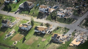 Damage from a tornado is seen in Dunrobin, Ont.