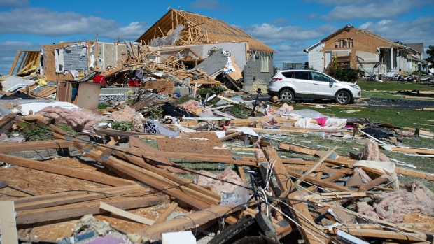 A neighbourhood destroyed by a tornado is seen in Dunrobin, Ont., west of Ottawa, on Saturday, Sept. 22, 2018. THE CANADIAN PRESS/Justin Tang
