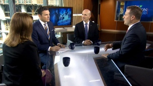 MPs Marco Mendicino, Shannon Stubbs and Nathan Cullen on CTV's Question Period on Sunday, September 23, 2018. (CTV News)