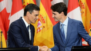 Prime Minister of Spain Pedro Sanchez and Prime Minister of Canada Justin Trudeau hold a joint news conference in Montreal on Sunday, Sept. 23, 2018. THE CANADIAN PRESS/Ryan Remiorz