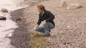 Nathalie Lasselin on the shores of the St. Lawrence River