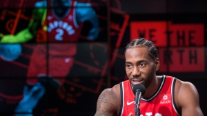 Toronto Raptors' Kawhi Leonard speaks at a press conference during media day in Toronto on Monday, Sept. 24, 2018. (THE CANADIAN PRESS/Chris Young)