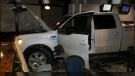 Police have made an arrest after a truck drove into a hotel pub in Red Deer Saturday night. Submitted.