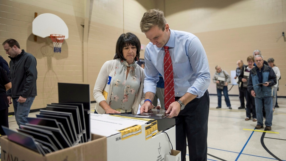 New Brunswick Liberal Leader Brian Gallant casts his ballot in the provincial election in Dieppe, N.B., on Monday, Sept. 24, 2018. (THE CANADIAN PRESS/Darren Calabrese)