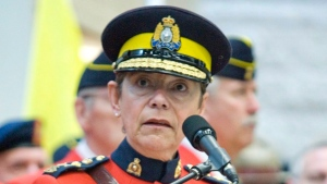 The first woman to hold the reins of the Royal Canadian Mounted Police and a Cree Metis businessman are the two newest members of the Senate. RCMP Commissioner Beverley Busson speaks at the opening of the $40 million RCMP Heritage Centre in Regina on Wednesday, May 23, 2007. THE CANADIAN PRESS/Geoff Howe