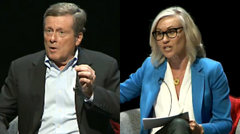 Toronto Mayor John Tory and mayoral candidate Jennifer Keesmaat face off at the first candidates debate on September 24, 2018.
