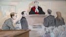 Dellen Millard is seen in this court sketch as the judge delivers his verdict on Sept. 24, 2018.