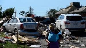Damage from a tornado is seen in Dunrobin, Ont. west of Ottawa on Monday, Sept. 24, 2018. THE CANADIAN PRESS/Sean Kilpatrick