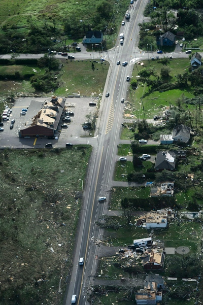 Damage from a tornado is seen along Dunrobin Road