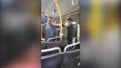 A confrontation on the 250 bus in West Vancouver is seen in this still from a witness video captured on Sept. 23, 2018. (Christine Starr / Facebook)