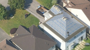 An aerial view of Jennifer Campbell's home after emergency repairs were done.