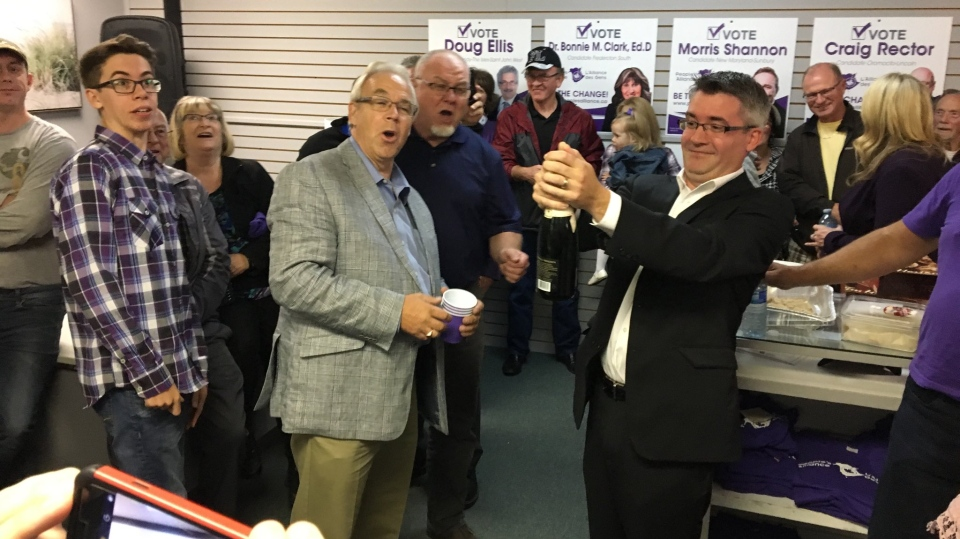 Corks were popping at the People's Alliance headquarters on election night as the party won its first-ever seat in the legislature. (Jonathan MacInnis/CTV Atlantic)