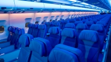 Seats in an Airbus A330