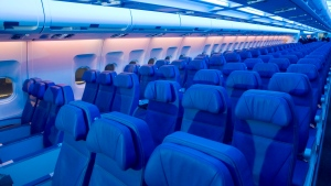 Seats in an Airbus A330 are pictured in Montreal, on May 17, 2012. (THE CANADIAN PRESS/Graham Hughes)