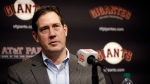 In this Jan. 19, 2018, file photo, San Francisco Giants general manager Bobby Evans during a news conference in San Francisco. Evans has been fired as the Giants general manager, Monday, Sept. 24, 2018. (AP Photo/Marcio Jose Sanchez, File)