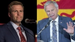 New Brunswick Liberal Leader Brian Gallant and Progressive Conservative Leader Blaine Higgs are both vying for power after a provincial election that ended in a near dead heat. (The Canadian Press/Andrew Vaughan/Darren Calabrese)