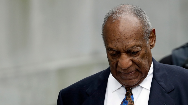 """Bill Cosby departs after a sentencing hearing at the Montgomery County Courthouse, Monday, Sept. 24, 2018, in Norristown, Pa. Cosby's chief accuser on Monday asked for """"justice as the court sees fit."""" (AP Photo/Matt Slocum)"""