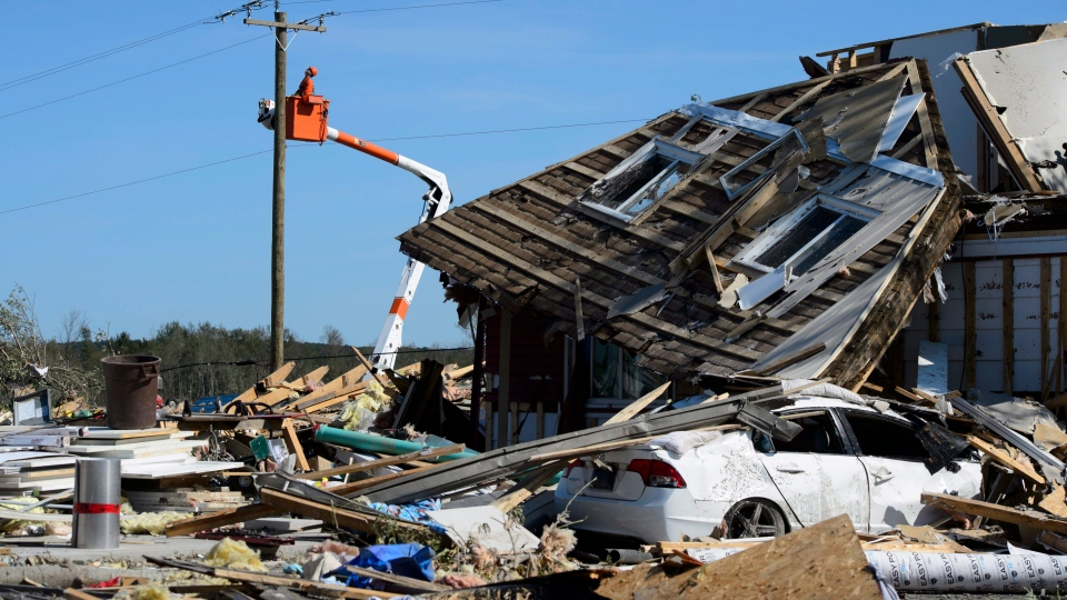 Damage from a tornado is seen in Dunrobin, Ont. west of Ottawa on Monday, Sept. 24, 2018. The tornado that hit the area was on Friday, Sept, 21. (THE CANADIAN PRESS / Sean Kilpatrick)