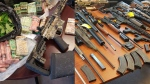 Police seized firearms, cannabis, cash and ammunition after two search warrants were executed.