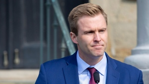 New Brunswick Liberal Leader Brian Gallant addresses the media after meeting with Lt.-Gov. Jocelyne Roy-Vienneau in Fredericton on Tuesday, Sept. 25, 2018. (THE CANADIAN PRESS/James West)
