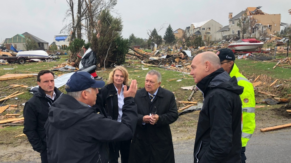 Minister of Public Safety and Emergency Preparedness Ralph Goodale tours the tornado damage in the Ottawa area on Sept. 28, 2018.
