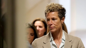 Andrea Constand arrives at the sentencing hearing for the sexual assault trial of Bill Cosby at the Montgomery County Courthouse in Norristown, Pa., Monday, Sept. 24, 2018. (David Maialetti/The Philadelphia Inquirer via AP, Pool)