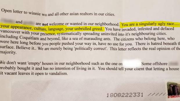 A racist letter sent to a Coquitlam, B.C. realtor chillingly ends with what appears to be a threat of property crime.
