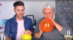 Quebec Solidaire co-spokesperson Manon Masse (R) joined Youtuber PL Cloutier to answer campaign questions while drinking wine and inhaling helium. (Screengrab courtesy of Youtube.)