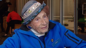 Lola Holmes, of Vancouver, is 100 years old and just may be the world's oldest curler. (CTV Vancouver)