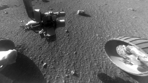 This Jan. 4, 2018 photo made available by NASA shows a view from the front Hazard Avoidance Camera of the Opportunity rover on the inboard slope of the western rim of Endeavour Crater on the planet Mars. (NASA/JPL-Caltech via AP)