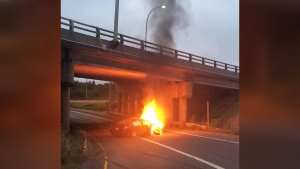 Blaise Marshall took this photo of Cory Markotjohn's burning car, near Sydney, N.S., early in the morning on Aug. 8, 2018.