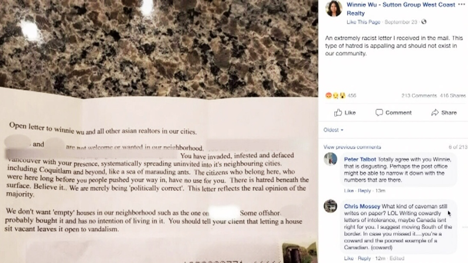 Winnie Wu posted on Facebook about a racist letter she recently received in the mall. (Winnie Wu/Facebook)
