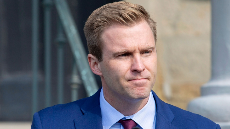 New Brunswick Liberal Leader Brian Gallant addresses the media after meeting with Lieutenant Governor of New Brunswick Jocelyne Roy-Vienneau, in Fredericton on Tuesday, Sept. 25, 2018. THE CANADIAN PRESS/James West