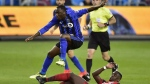 The Canadian Soccer Association has confirmed that 19-year-old attacking midfielder Ballou Tabla has chosen Canada over the Ivory Coast. Montreal Impact midfielder Ballou Tabla (13) jumps over a sliding tackle from Toronto FC defender Chris Mavinga (23) during second half MLS soccer action in Toronto on Sunday, October 15, 2017. THE CANADIAN PRESS/Frank Gunn