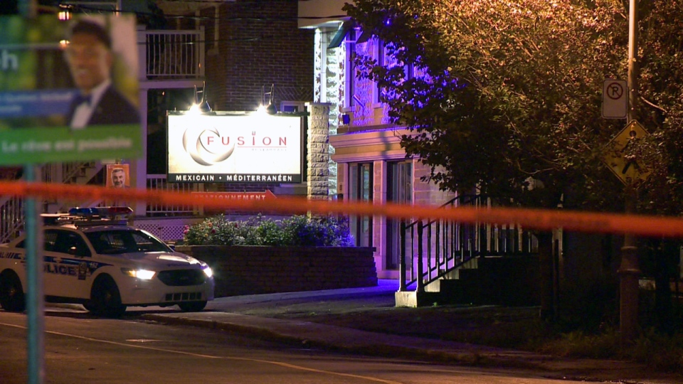 The Fusion restaurant is taped off in Laval after a person with ties to organized crime was shot and killed on Sept. 25, 2018 (CTV Montreal/Cosmo Santamaria)
