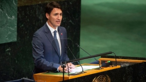 Prime Minister Justin Trudeau delivers remarks during the Nelson Mandela Peace Summit plenary session at the United Nations headquarters, Monday Sept. 24, 2018. THE CANADIAN PRESS/Adrian Wyld
