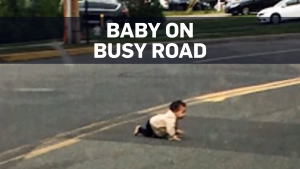 Police investigating baby found on busy road