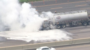 Extended: Truck fire causes delays on Hwy. 401