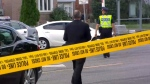 Toronto police traffic services investigating a fatal hit-and-run in Scarborough on September 26, 2018.