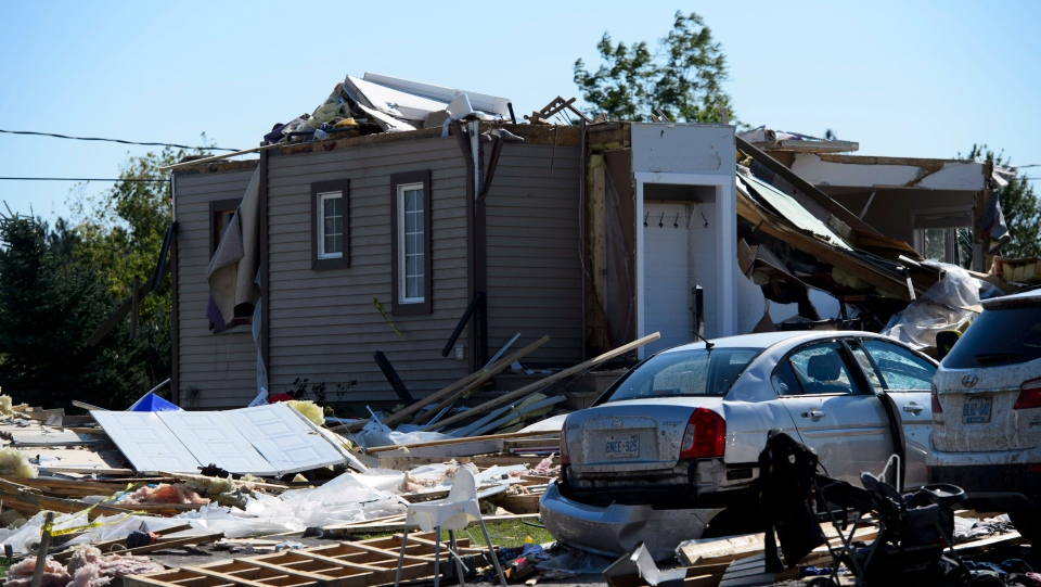 Damage from a tornado is seen in Dunrobin, Ont. west of Ottawa on Monday, Sept. 24, 2018. (Sean Kilpatrick/THE CANADIAN PRESS)