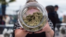 A vendor displays marijuana for sale during the 4-20 annual marijuana celebration, in Vancouver, B.C., on Friday April 20, 2018.  THE CANADIAN PRESS/Darryl Dyck